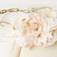 Rustic Bridal Headpiece, Blush Floral Headband, Woodland Wedding Flower Crown, Romantic, Roses, Natural, Pink, Cream, Ivory