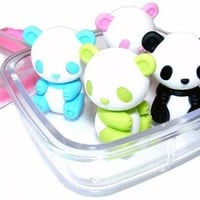 Iwako Japanese Erasers In A Mini Bento Box - Pandas (Colors May Vary)