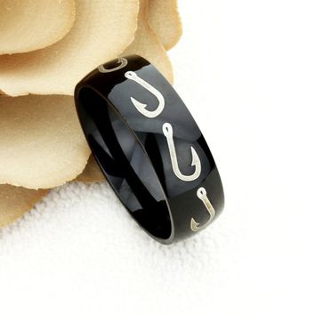 8mm Black Tungsten Wedding Band Promise Ring For Men Fishing Hook Hunting Ring Custom Inside Engraving Personalized Wedding Band