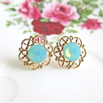 Turquoise Earrings Tiffany Blue Wedding Jewelry Aqua Bridesmaid Bridal Mint Crystal Gold Post Earrings