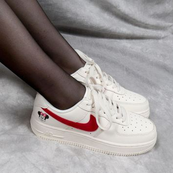 "WMNS Nike Air Force 1 AF1 Low ""Minnie Mouse"" White"