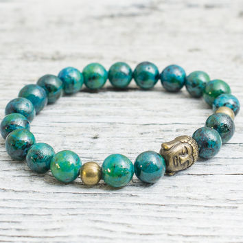 Green phoenix stone beaded stretchy bracelet with bronze Buddha bead, mens bracelet, womens bracelet