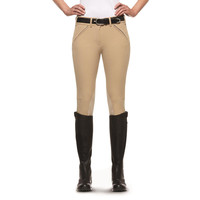 Ariat Women's Prix Low Rise Front Zip Knee Patch Breech - Tan