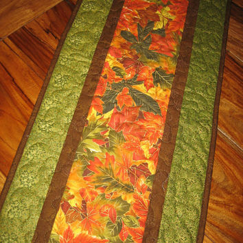 Fall Table Runner, Autumn Orange Yellow Green Leaves, Quilted Table Runner, Fall Autumn Table Decor,  Autumn Runner Reversible Handmade