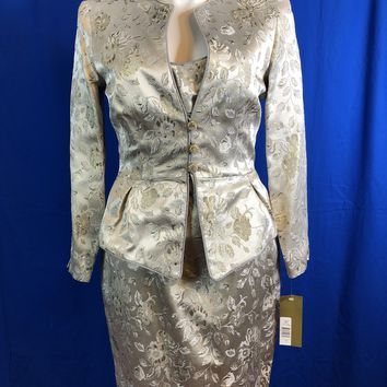 JS Collection Gold/Silver 2 piece Dress/Blazer Suite Size 16