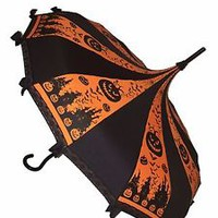 Halloween Umbrella Pagoda Shaped With Lace/Bows By Hilary's Vanity orange black