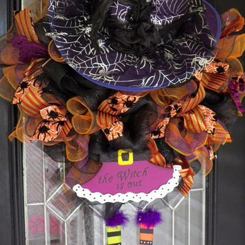 Wicked Witch Halloween Wreath, Halloween Door Hanger, Halloween Decoration, Deco Mesh, Wreath for Door, Front door Wreath, Ready to Ship