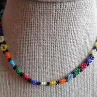 "4"" Handmade Beaded Floral Choker Necklace"