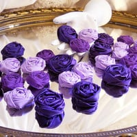 30 Handmade Purple Rolled Rosette Flowers for weddings, bouquet making, wedding decor, cake toppers,