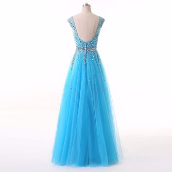 Elegant V-Neck Beading Long A-Line Organza Evening Dresses Sexy Elegant Party Prom Gown