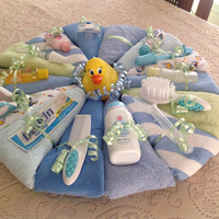 Baby Diaper Cake Pizza Pie, Wash cloths, Baby accessories, Baby shower gift,  Centerpiece, Diaper Cake Pie, New Baby, New Mom, Boy, Girl