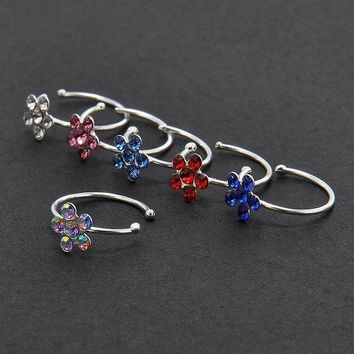 ac DCCKO2Q New Small Thin Flower Clear Crystal Nose Ring Stud Hoop-Sparkly Crystal Nose Ring Free shipping