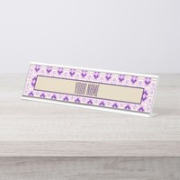 Pink and purple pattern with chevron elements desk name plate
