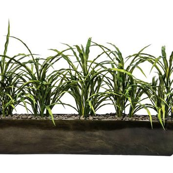 "15"" Tall Plastic Grass Artificial Indoor/ Outdoor Faux Décor in Resin Vase"