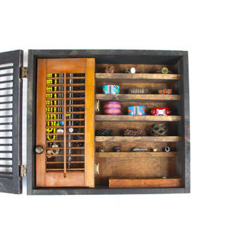 Wood and Black Shutter Wall Hanging Jewelry Organizer and Storage... Handmade by TangleandFold