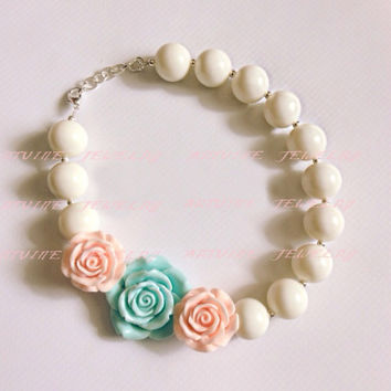 2pcs Ivory beads with 2 peach rose flower and blue flower chunky bubblegum necklace girl chunky necklaceCB590