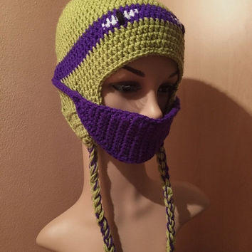ON SALE - 10% OFF Crochet earflap  ninja turtle  hat... Children  cap...photo prop