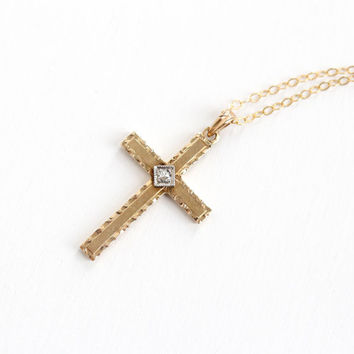 Vintage 10k Yellow & White Gold Diamond Cross Necklace - Vintage Art Deco Crucifix Religious Pendant Hallmarked Esemco on 14k G.F. Chain