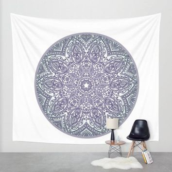 Purple And Green Mandala Tapestry Wall Hanging Meditation Yoga Grunge Hippie