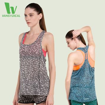 VANSYDICAL Women's Sports Sleeveless Yoga Tank-Printed Shirt Belt Vest Tops Fitness Yoga Clothes Ladies Sports Blouse Vests