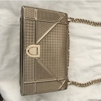 Dior Gold Calfskin Leather Diorama Microcannage Indore Cross Body Bag 14% off retail