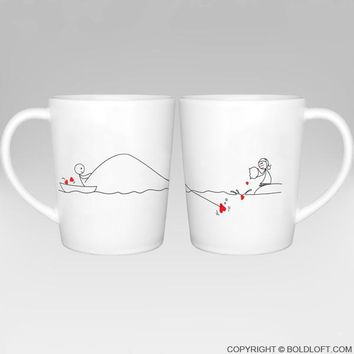 Catch My Heart™ Couples Matching Coffee Mugs, Long Distance Relationships Gifts for Him for Her,Long Distance Coffee Mugs,Long Distance Couples Gifts,Girlfriend Boyfriend Gifts
