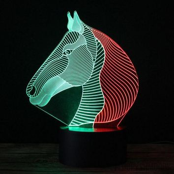 Two Color Horse 3D Lamp
