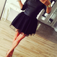 Black Lace Skater Dress Mini