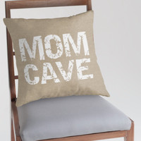 Mom Cave Typography on a Burlap Look Pillow Cover, Statement Decorative Throw Pillow, Rustic Decor, Funny, Mothers Day Gift