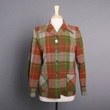 50s WOOL 49er JACKET / 1950s Brown & Green Tartan PENDLETON Plaid Jacket, m-l
