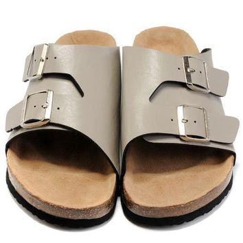 Birkenstock Leather Cork Flats Shoes Women Men Casual Sandals Shoes Soft Footbed Slippers-184