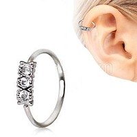 316L Stainless Steel Synthetic Triple CZ Cartilage Earring / Nose Hoop Ring