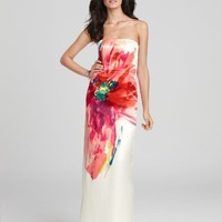 Oversized Bloom Duchess Satin Strapless Gown