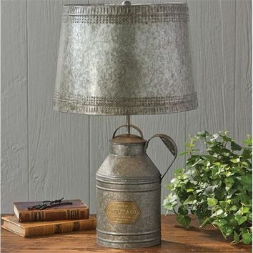 Antique Tin Milk Can Lamp