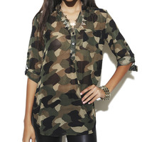 Camouflage Popover Tunic | Shop Just Arrived at Wet Seal