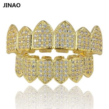 Vampire Fang Set CZ Grillz 18k Gold Plated and Silver 2 Tone Teeth Grills Fangs