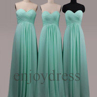 Custom Mint Long Bridesmaid Dresess 2014 Prom Dresses Formal Evening Gowns Wedding Party Dress Evening Dresses Homecoming Dresses