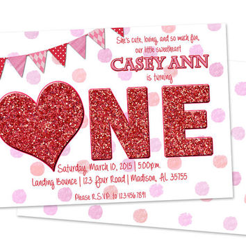 One Sweetheart 1st Birthday Girl invitation - Sweetheart Invitation - Valentine 1st Birthday Party - First Birthday Faux Red Glitter Girls