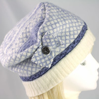 Warm Winter Hat from Densely Felted Sweater | Light Blue Matrix Knit with White Trim | Beanie Style Ski Hat