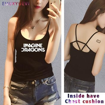 IMAGINE DRAGONS Printed modal Casual Shirt For women girl vest tanks camis White Black White tank Top Tee Funny Hipster euu2-17