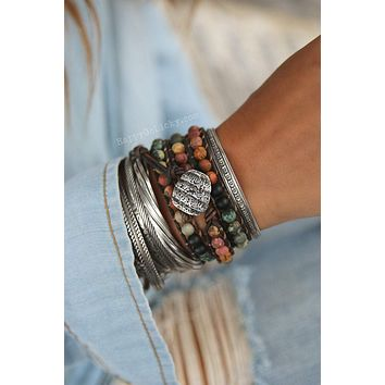 Rustic Shell Triple Wrap Bracelet
