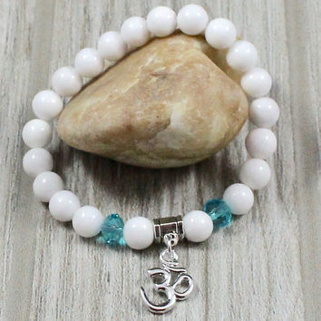 Women's White Jade Om Bracelet with Turquoise Crystals
