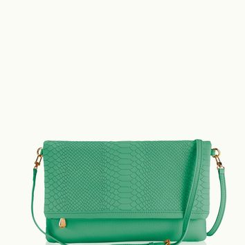 GiGi New York Carly Convertible Clutch Island Green Embossed Python Leather