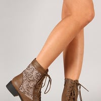 LA-26 Lace Round Toe Lace Up Bootie