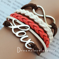 Christmas gift, Infinity LOVE Charm Bracelet, White wax Cords,White&Red Braided leather cords