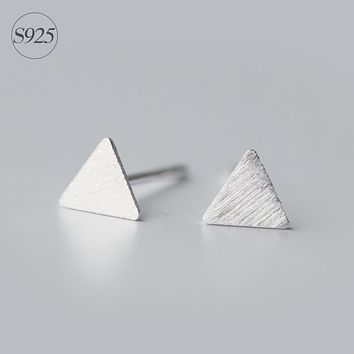 Lab Guaranteed 925-sterling-silver Tiny Small Triangle Simple Cute Matte Geometric Sterling-Silver-Jewelry Unisex Stud Earrings