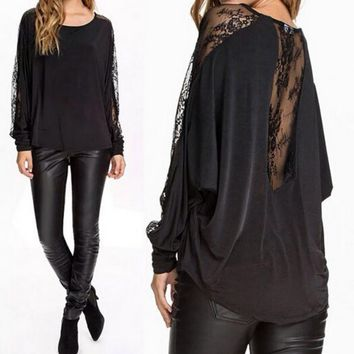 Long sleeve lace stitching perspective bats T-shirt TOP