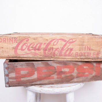 Pair of Vintage Pepsi and Coca Cola Rustic Wooden Crate Boxes, Perfect for Planter Boxes