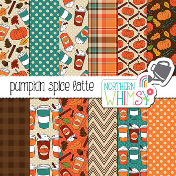 "Fall Digital Paper - ""Pumpkin Spice Latte"" - autumn scrapbook papers with coffee cups, spices & leaves - seamless patterns - commercial use"
