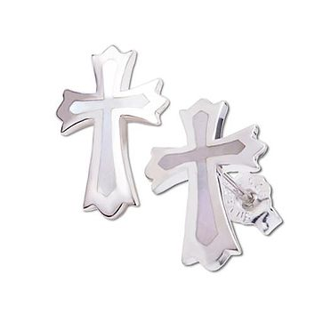 Sterling Silver Cross Stud Earring with Mother-of-pearl Inlay